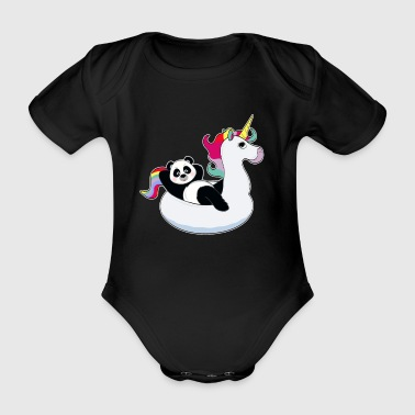 Panda en unicorn air mat kawaii summer cool - Body orgánico de maga corta para bebé