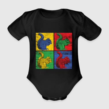 Popart squirrel - gift idea - Organic Short-sleeved Baby Bodysuit