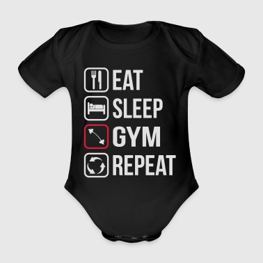 Eat Sleep Gym Repeat - Body ecologico per neonato a manica corta