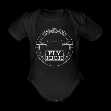 Kitesurf Logo Fly High Kiteboard weiss V1 - Baby Bio-Kurzarm-Body