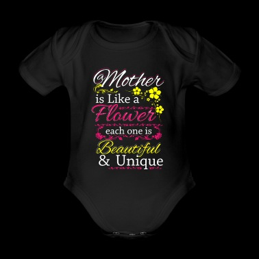 Love is beautiful and unique flower - Organic Short-sleeved Baby Bodysuit