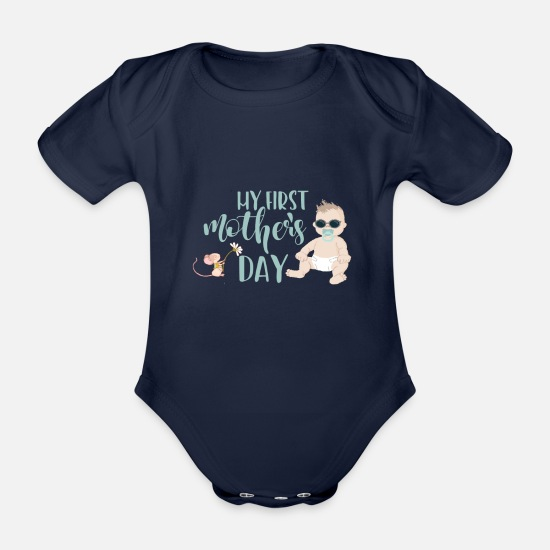 Love Baby Clothes - My first mothers day - my first mothers day - boy - Organic Short-Sleeved Baby Bodysuit dark navy