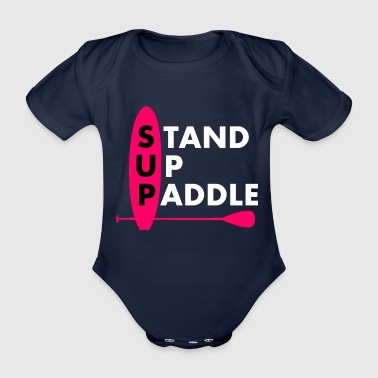 Stand Up Paddle Girl Frau Lady Pink - Baby Bio-Kurzarm-Body