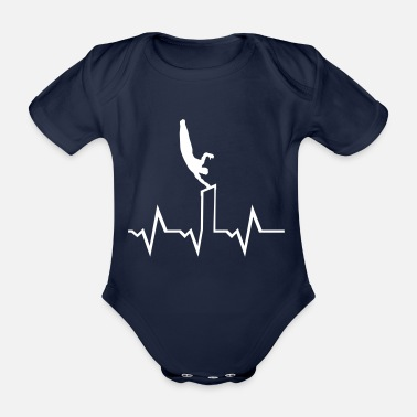 Artist Gymnatics, Gymnast on high bar & ecg heartbeat - Organic Short-Sleeved Baby Bodysuit