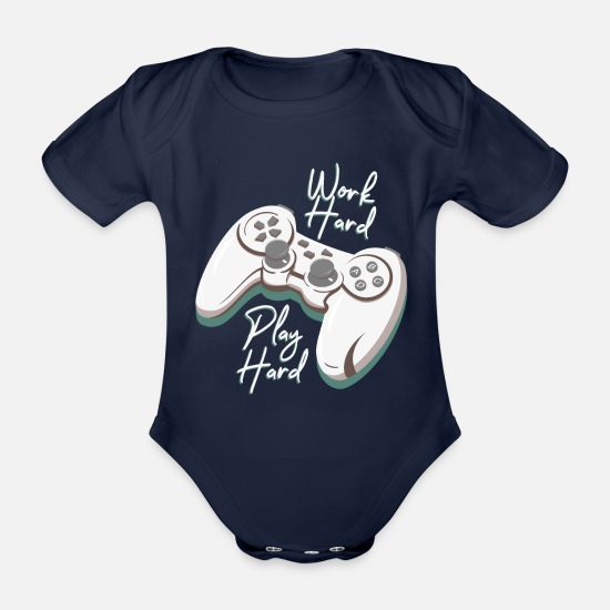 Game Baby Clothes - Play Hard Work Hard - Organic Short-Sleeved Baby Bodysuit dark navy