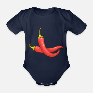 Chilli Pepper Red chilli pepper hot pepper vegetables - Organic Short-Sleeved Baby Bodysuit