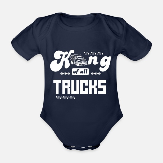 Container Baby Clothes - Truck Trucker - Organic Short-Sleeved Baby Bodysuit dark navy