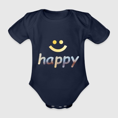 Happiness Happy, happy, happy, word - Organic Short-sleeved Baby Bodysuit