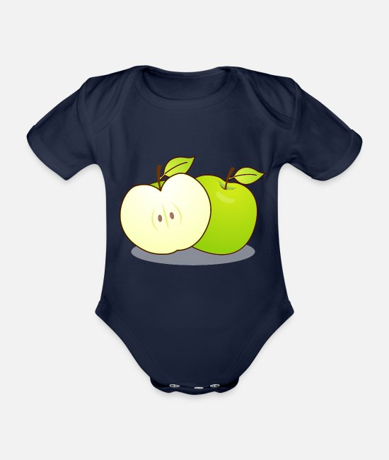 Bochum Baby Bodysuits - Apple - Organic Short-Sleeved Baby Bodysuit dark navy