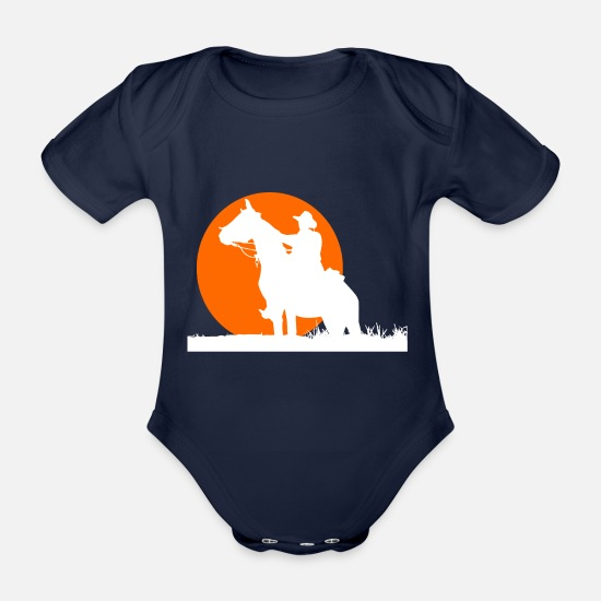 Sunset Baby Clothes - Cowboy sunset - Organic Short-Sleeved Baby Bodysuit dark navy