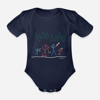 Stick Figure Stick figures fell Christmas tree, tight family - Organic Short-sleeved Baby Bodysuit