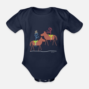 Relationship Marry horse, stick figure riding sport marriage - Organic Short-Sleeved Baby Bodysuit