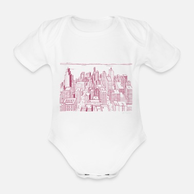 Megacity red city skyline skyscraper live megacity colors - Organic Short-Sleeved Baby Bodysuit