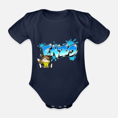 Enzo Enzo Graffiti Name - Organic Short-sleeved Baby Bodysuit