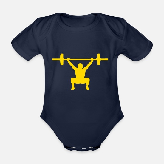 Beast Mode Baby Clothes - Snatch yellow - Organic Short-Sleeved Baby Bodysuit dark navy