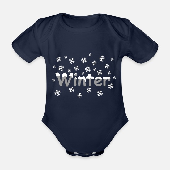 Decoration Baby Clothes - winter - Organic Short-Sleeved Baby Bodysuit dark navy