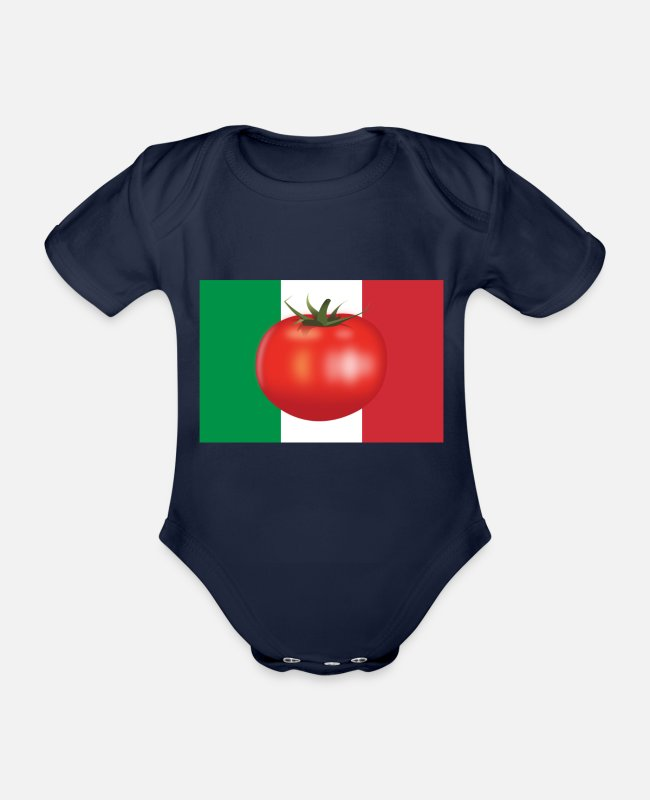 Italienflagge Baby Bodys - Italienflagge Tomate - Baby Bio Kurzarmbody Dunkelnavy