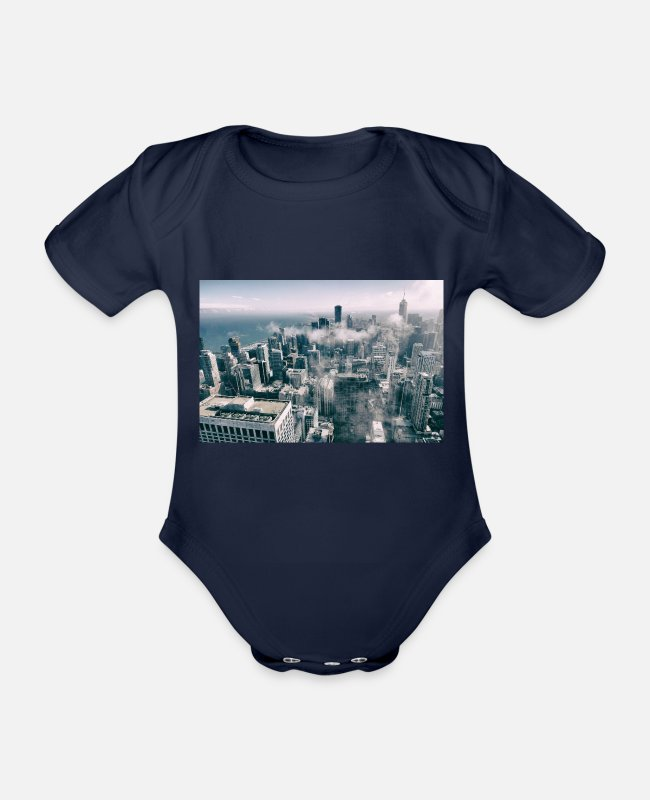 Building Baby Bodysuits - New York skyline - Organic Short-Sleeved Baby Bodysuit dark navy