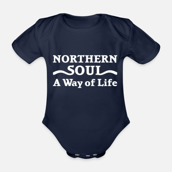 Soul Baby Clothes - Northern Soul Way of Life - Organic Short-Sleeved Baby Bodysuit dark navy