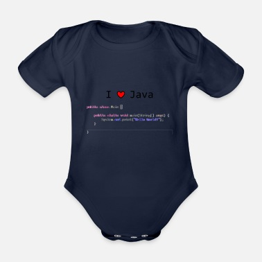 Java I Love Java - Hello World! gift idea - Organic Short-sleeved Baby Bodysuit