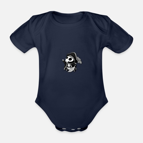 Logo Baby Clothes - Water Polle - Organic Short-Sleeved Baby Bodysuit dark navy