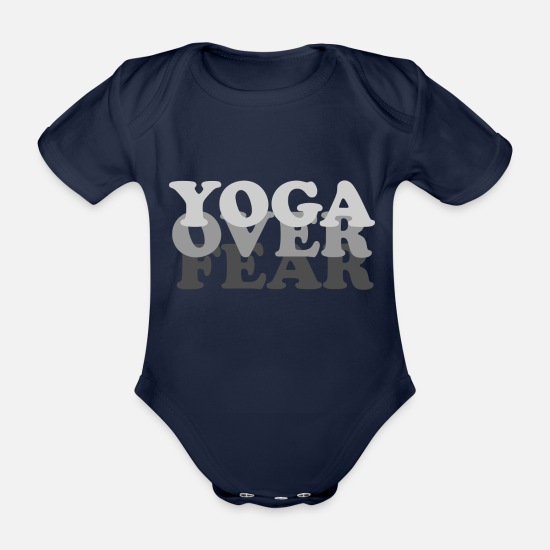 Yogi Baby Clothes - yoga over fear - Organic Short-Sleeved Baby Bodysuit dark navy
