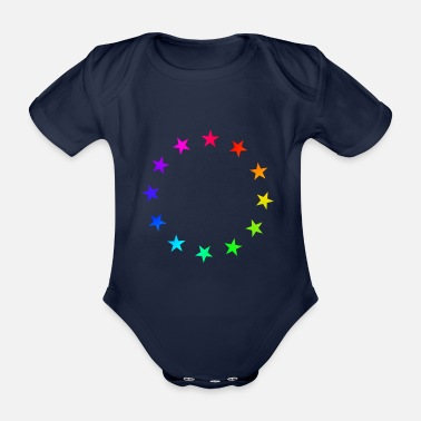 Yes We Can Rainbow Stars - Organic Short-Sleeved Baby Bodysuit