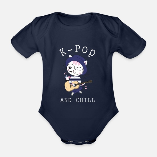 Gift Idea Baby Clothes - K Pop And Chill - Organic Short-Sleeved Baby Bodysuit dark navy