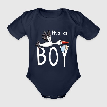 It's a boy - Baby - Storch - lustig - Comic - Baby Bio-Kurzarm-Body