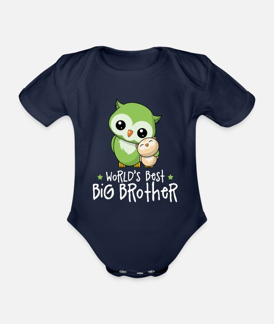 Kleine Baby Bodys - World's Best Big Brother - Großer Bruder Eulen - Baby Bio Kurzarmbody Dunkelnavy