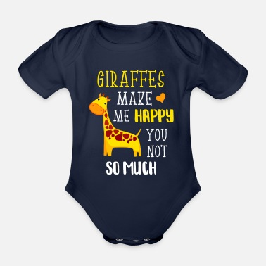 Tanzania Giraffes make me happy Funny giraffe gift - Organic Short-sleeved Baby Bodysuit