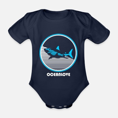 Shark Fin Sharks shark water sea ocean - Organic Short-sleeved Baby Bodysuit