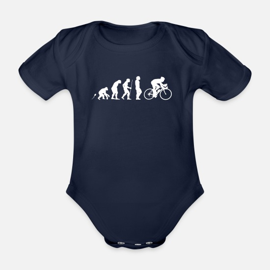 Bike Baby Clothes - Road biker road bike - Organic Short-Sleeved Baby Bodysuit dark navy