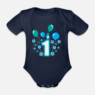Birthday first birthday 1st birthday one year gift - Organic Short-Sleeved Baby Bodysuit