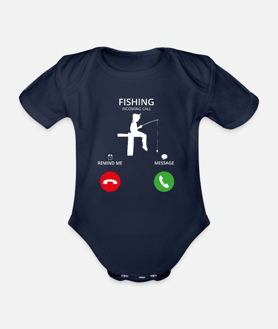 Call Baby Bodysuits - Call Mobile call fishing - Organic Short-Sleeved Baby Bodysuit dark navy
