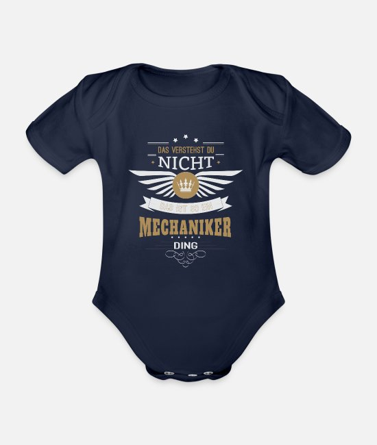 Mechaniker Baby Bodys - Mechaniker KFZ Mechaniker Geschenk - Baby Bio Kurzarmbody Dunkelnavy