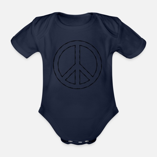 Symbol  Baby Clothes - Peace - Organic Short-Sleeved Baby Bodysuit dark navy