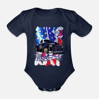 Classic Car 1950 Chev Rat Rod Truck Blue Style - Organic Short-Sleeved Baby Bodysuit