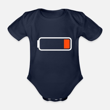 Low Battery low - Organic Short-Sleeved Baby Bodysuit