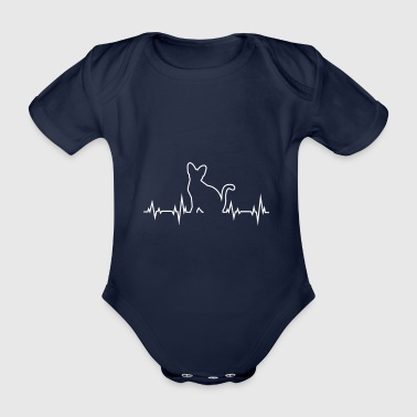 Cat Heartbeat ECG EKG - Cat Lovers Gift - Organic Short-sleeved Baby Bodysuit