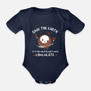 Save Save the Earth - Save the Earth Planet with Chocolate - Organic Short-Sleeved Baby Bodysuit