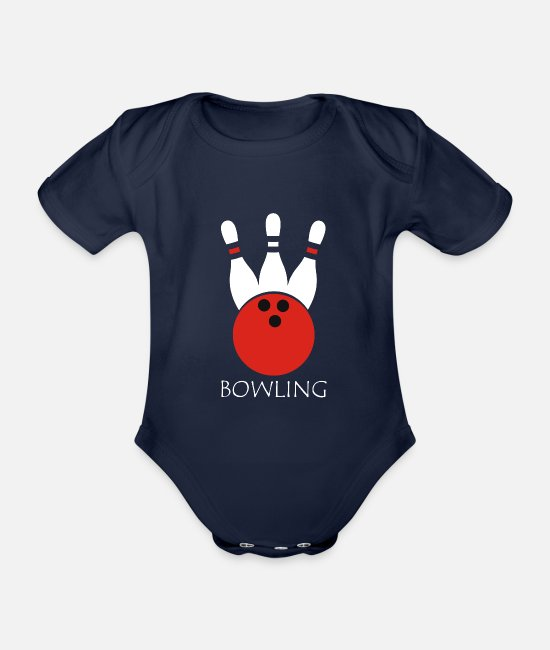 Bowling Club Baby Bodysuits - Bowling Gift Spare Strike PIN - Organic Short-Sleeved Baby Bodysuit dark navy