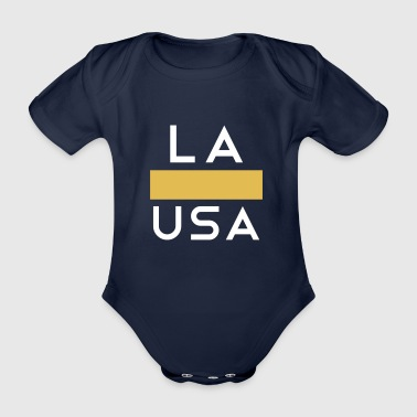 Texas LA Los Angeles USA Gold White - Organic Short-sleeved Baby Bodysuit