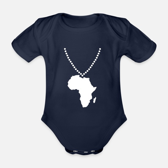 Continent Baby Clothes - Africa chain - Organic Short-Sleeved Baby Bodysuit dark navy