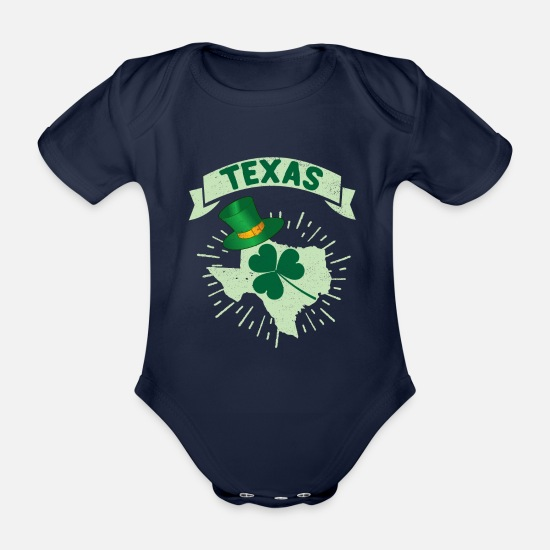 Texas Baby Clothes - St Patrick's Day Texas Irish Flag Shamrock Texan - Organic Short-Sleeved Baby Bodysuit dark navy