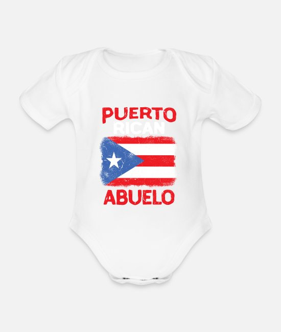 Flag Baby Clothes - Puerto Rico Abuelo Grandpa Flag Fathers Day - Organic Short-Sleeved Baby Bodysuit white