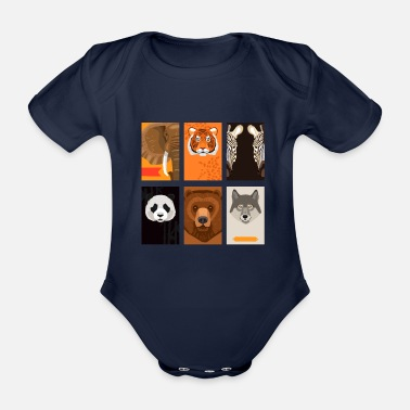 Wild Animal Wild animals - Organic Short-Sleeved Baby Bodysuit
