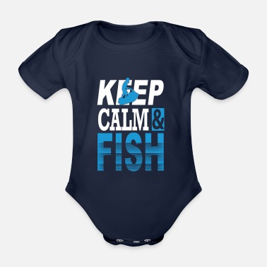 Plaice Keep Calm & Fish Gift Trout Plaice Fishing - Organic Short-Sleeved Baby Bodysuit