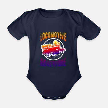 Trains - Organic Short-Sleeved Baby Bodysuit