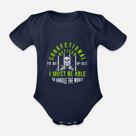 Security Guard Baby Clothes - Correctional Officer Prison Officer - Organic Short-Sleeved Baby Bodysuit dark navy